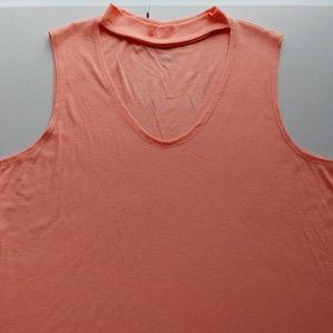 NWT!!! Peach Rib Knit Choker Collar SleevelessTop!